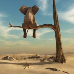 L'éléphant sur l'arbre dans un monde imaginaire.
