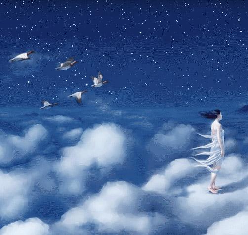 Femme marchant dans le ciel étoilé sur unn nuage suivie du vol de canards