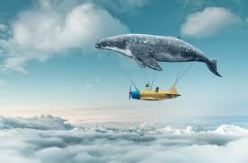symbole une montgolfière une baleine un avion