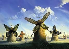 Georges Romey : moulins à vent aux ailes de papillons