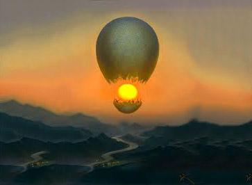 un oeuf mongolfière dans le soleil levant, la créativité du rêve éveillé libre